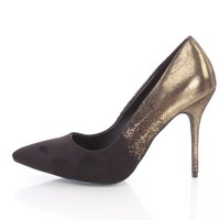 Black Single Sole Pointed Toe Pump Heels Shimmer Faux Suede