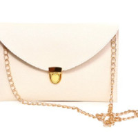 Leather Envelope Clutch Epic Pockebook with optionl Chain Sholder Strap - Cream