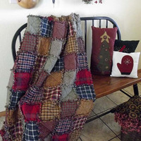 Ready to Ship Rag Quilt Throw - Rustic Handmade Patchwork Country Western Bedding