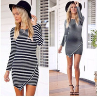 Striped Long Sleeve Asymmetrical Mini Dress
