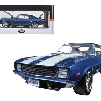1969 Chevrolet Camaro RS Coastal Blue Pearl with White Stripes 1-24 Diecast Car Model by M2 Machines