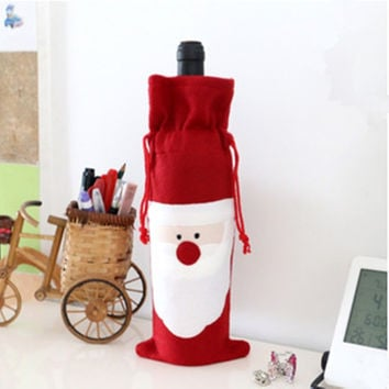 Christmas Ornament Mechanical Santa Claus Gift Bags Wine Bottle Clothes Table Decorations Cutlery Accessories