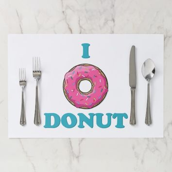 I Love Donut Pink Design Paper Placemat