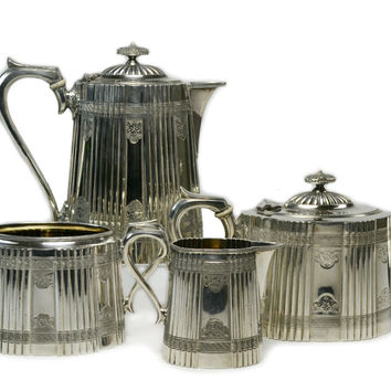 Silver Plated Tea and Coffee Set by James Dixon, Antique English, circa 1875