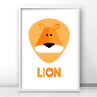 Lion Nursery Art Print,  Download Printable Nursery Wall Art, Kids Print,  Animal Nursery Print, Kids Art,  Safari Nursery Decor, Jungle Art