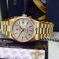 ROLEX - 36mm 18kt Gold Day Date President Silver Stick Dial 18238 - SANT BLANC