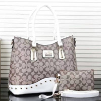COACH Women Shopping Leather Handbag Tote Satchel Shoulder Bag White