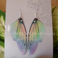 Rainbow Fairy wing earrings, iridescent cicada style with sterling silver ear wires, clip on version available