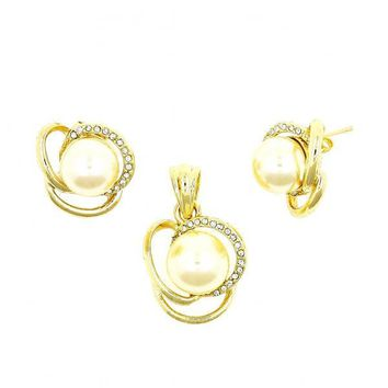 Gold Layered 10.160.0021 Earring and Pendant Adult Set, Twist Design, with Ivory Pearl and White Crystal, Polished Finish, Golden Tone