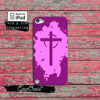 Christian Cross Pink Purple Jesus Religion Case iPod Touch 4th Generation or iPod Touch 5th Generation Rubber or Plastic Case