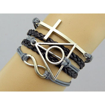 Harry Potter bracelet,Cross bracelet,infinity Bracelet,The Deathly Hallows bracelet,Couples bracelet,brown bracelet,lover bracelet,leather bracelet,hipsters jewelry,braided bracelet