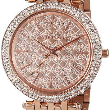 Michael Kors Women's Darci Rose Gold-Tone S. Steel Crystal Accented Watch 3399