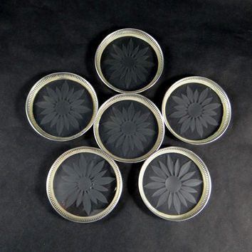 Vintage Sterling Silver and Etched Glass Coasters by Frank M Whiting