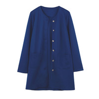 Single Breasted Long Sleeve Coat with Dual Pockets
