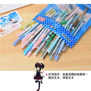 Set of 50pcs black ink and blue ink gel pens for drawing, scrapbook, writing, sign P32