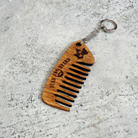 Pocket Beard Comb Keyring Wooden Beard Comb Gift for dad Gift for him Dad gift Gifts for dad Gift for boyfriend Valentine gift