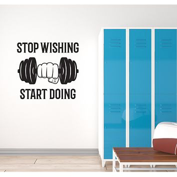 Vinyl Wall Decal Gym Motivational Phrase Quote Words Fitness Center Interior Stickers Mural (ig5980)