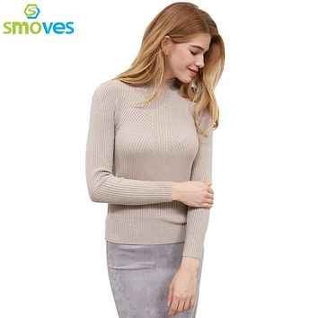 Smoves Womens Classic Mock Neck Woolen Blended Ridges Knit Sweater New Autumn Winter Knitwear Pullover Jumpers GS128