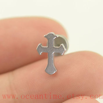 Earring cross tragus earring piercing jewelry,cross Helix Cartilage jewelry,cartilage earring,oceantime