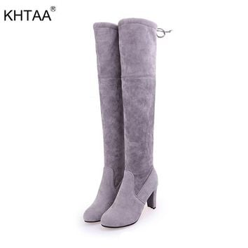 Winter Thigh High Boots Women Faux Suede Leather High Heels Over The Knee Botas Mujer Plus Size Shoes Woman 2018 Female Footwear