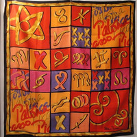 Vintage Paloma Picasso Perfume Pop Art Head Scarf Multi Color Multi Symbols Non Silk