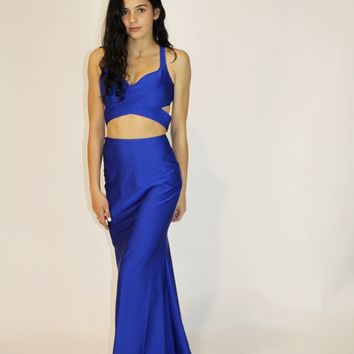 Royal Blue Cut Out Gown