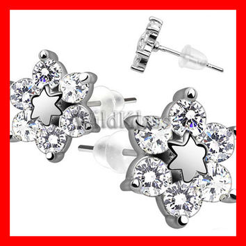 Pair of .925 Sterling Silver Center Star Flower w/ CZ Shard Petals Tiny Stud Earrings Cartilage Earring Helix Jewelry Tragus Piercing Hex