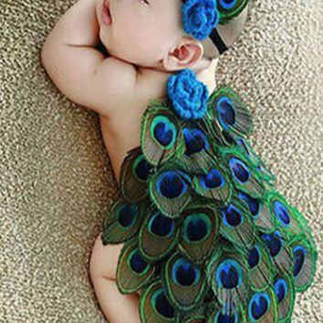Peacock Feather Newborn Baby Outfit With Headband Photo prop - CCA88