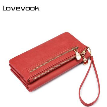 LOVEVOOK women wallet female long purse card holder multi card slots with wrist strap coin pocket ladies clutch high quality PU