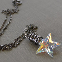 Star Necklace, Crystal Star Pendant, Galaxy Necklace, Oxidized Sterling Necklace, Wire Wrapped, Swarovski Star Pendant, Sterling Silver