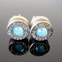 9MM Bullet Earrings in Sky Opal
