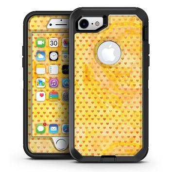 Tiny Gold Watercolor Hearts - iPhone 7 or 7 Plus OtterBox Defender Case Skin Decal Kit
