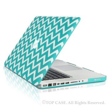 """TopCase Chevron Series Hot Blue / Turquoise Ultra Slim Light Weight Rubberized Hard Case Cover for Macbook Pro 15"""" Model: A1286 - NOT for Retina Display - with TopCase Chevron Mouse Pad"""