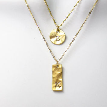 Persoanlized, Initial, Double layered, Hammered, Vertical bar, Disc, Gold, Silver, Necklace, Lovers, Friends, Mom, Sister, Gift