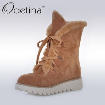 Odetina Brown Womens Suede Fur Lined Boots Non-slip 2016 Winter Women Ankle Boots Lace Up Platform Plush Snow Boots Large Size