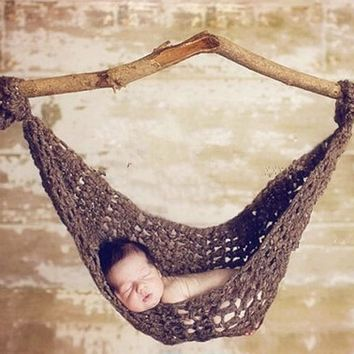 Crochet Baby Hammock Photography Props Knitted Newborn Infant Costume Toddler Photo Props FJ88