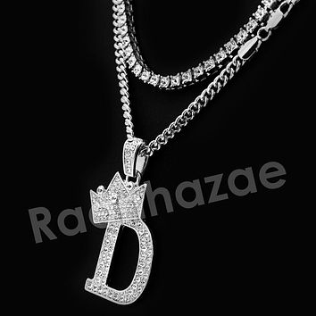 Iced Out King Crown D Initial Pendant Necklace Set (Silver)