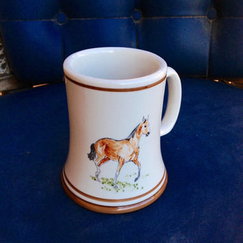 Brown Horse Tall Mug - White Porcelain Vintage Mug featuring a Brown Horse