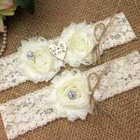 Rustic Personalized Wedding Garter Set,Country Chic Garter Set,Monogrammed Wedding Garter Set