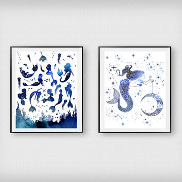 Mermaid print, Children decor, Nautical art, Minimalist art, Nursery decor, Girls room decor, Wall art, Digital print, Set of 2 print