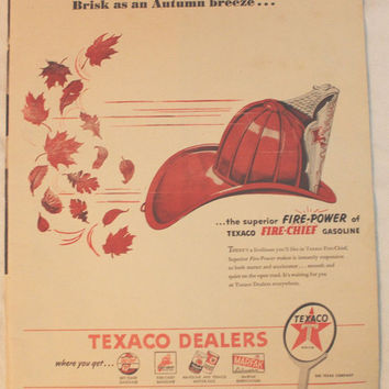 Vintage 1946 Texaco Gas Gasoline Oil Dealer Fire Cheif Print Ad Advertising Wall Art Decor