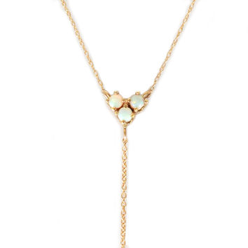 14kt Gold Opal and Sapphire Diane Lariat