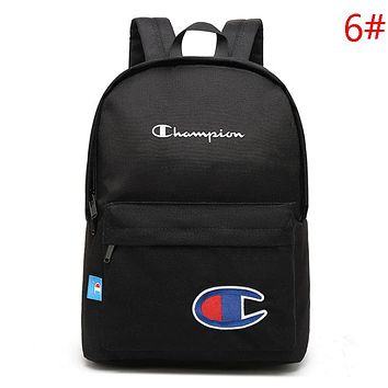 Champion New Fashion Embroidery Letter Logo Travel Women Men Backpack Bag Black