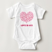 Love is all - Pink Hearts Baby Jersey Bodysuit