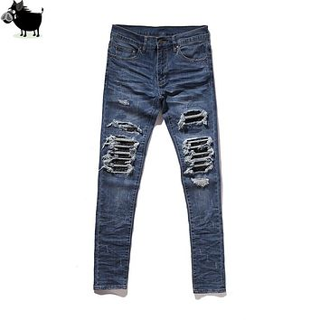 Man Si Tun  Bieber similar style Amiri MX skinny distressed biker jeans  bieber men streetwear slim fit destroyed denim pans