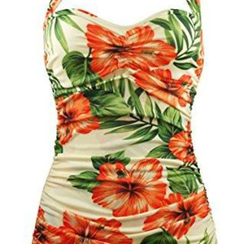 Peach Hibiscus Floral Anchors One Piece Sheath Swimsuit