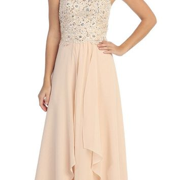 Lace Applique Bodice Strapless Champagne Long Dress Formal