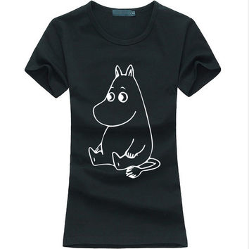 2017 New Cartoon MOOMIN Letters Print Women T-shirt Hipster Casual Funny Tee Shirt Femme harajuku fashion brand punk Kawaii tops