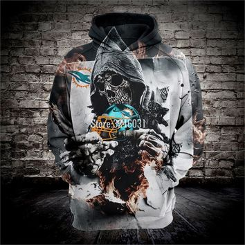 2019 Fashion Men women 3d Sweatshirts Dolphins skull Hoody Hoodies With Cap Tops for miami fans gift 002
