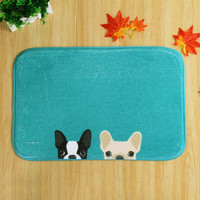 Cartoon Dog Coral Fleece Area Rug For Kitchen Bathroom Slip Resistant Absorbent Machine Washable